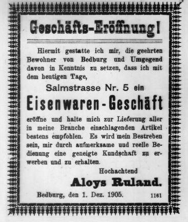 Ruland-Geschäftseröffnung-1905-Bedburg